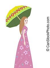 девушка, зонтик, ваш, романтический, дизайн