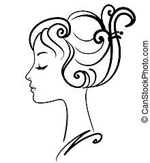 девушка, иллюстрация, лицо, вектор, красивая