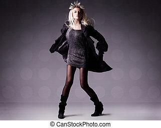 девушка, мода, красивая, фото