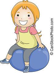 девушка, мяч, упражнение