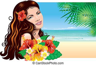 девушка, пляж
