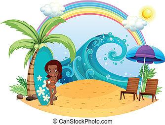 девушка, серфинг, пляж, загар, доска