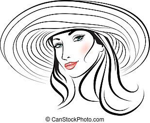 девушка, шапка, красота, лицо
