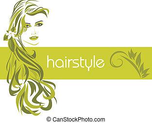 декоративный, баннер, hairstyle., женский пол