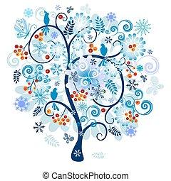 декоративный, дерево, зима