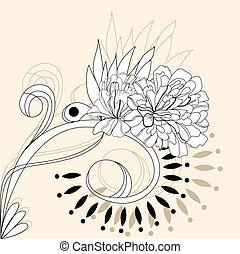 декоративный, задний план, цветочный