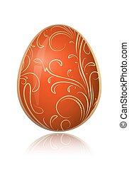 декоративный, золотой, illustration., пасха, яркий, вектор, цветочный, branch., яйцо, красный