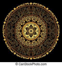 декоративный, золото, марочный, рамка, patterns, черный, круглый