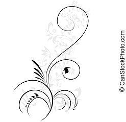 декоративный, иллюстрация, цветочный, flourishes, swirling, вектор, элемент