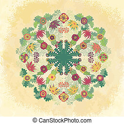 декоративный, орнамент, гранж, задний план, цветочный