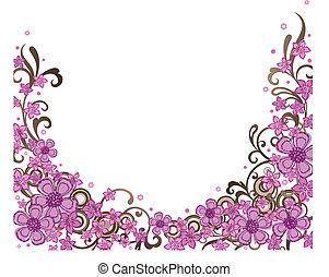 декоративный, розовый, граница, цветочный