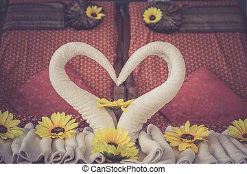 декоративный, сердце, белый, полотенце, спа