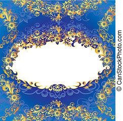декоративный, синий, рамка, цветочный