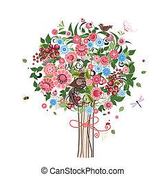 декоративный, цветок, дерево, birds