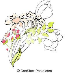 декоративный, цветочный, задний план