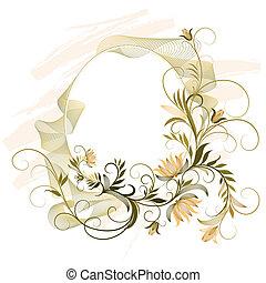 декоративный, цветочный, рамка, орнамент