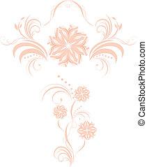 декоративный, цветочный, elements, два