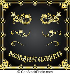 декоративный, цветочный, elements, дизайн, ornaments