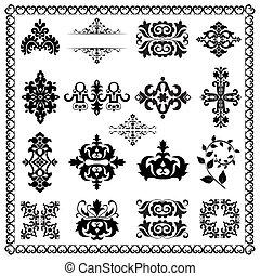 декоративный, elements, дизайн, (black)