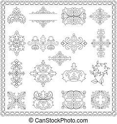 декоративный, elements, дизайн, (line)