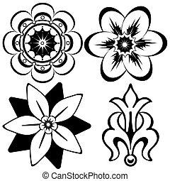 декоративный, elements, (vector), марочный, дизайн, цветочный