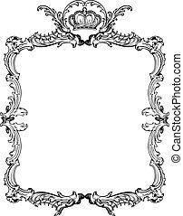 декоративный, illustration., марочный, вектор, богато украшенный, frame.
