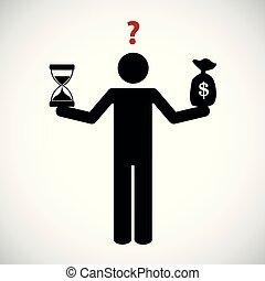 деньги, баланс, время, pictogram