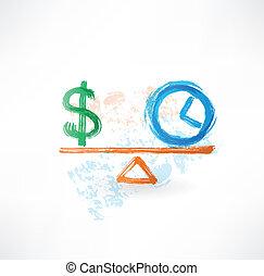 деньги, баланс, гранж, время, значок