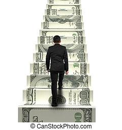 деньги, бизнесмен, гулять пешком, задний, посмотреть, лестница