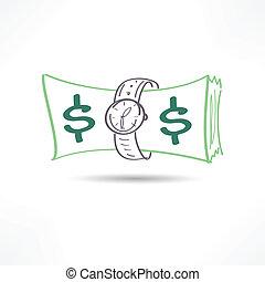 деньги, время, значок