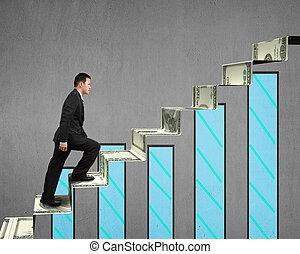 деньги, гулять пешком, лестница, диаграмма, бизнесмен