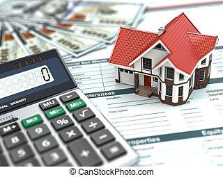 деньги, дом, document., calculator., ипотека