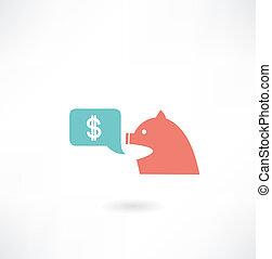деньги, свинья, значок