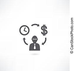 деньги, цикл, человек, значок, время