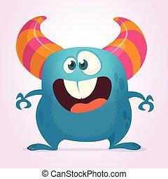 день всех святых, монстр, illustration., вектор, синий, большой, веселая, дизайн, мультфильм, mouth.