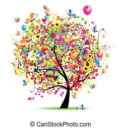 день отдыха, веселая, счастливый, дерево, balloons