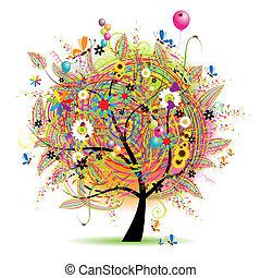 день отдыха, веселая, счастливый, дерево, baloons