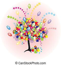 день отдыха, вечеринка, baloons, мероприятие, мультфильм, дерево, счастливый, giftes, boxes