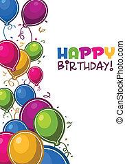 день рождения, balloons, счастливый