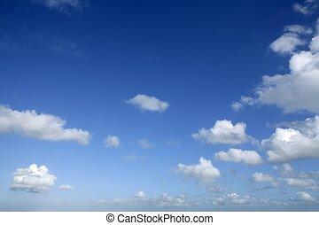 день, синий, солнечно, небо, clouds, красивая, белый
