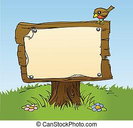 деревенский, деревянный, знак