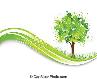 дерево, абстрактные, зеленый, задний план