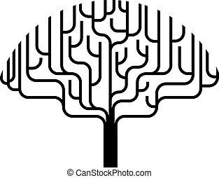 дерево, абстрактные, силуэт, иллюстрация