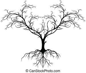 дерево, без, силуэт, лист