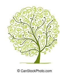 дерево, ваш, изобразительное искусство, зеленый, дизайн