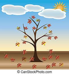 дерево, ваш, осень, design., красивая