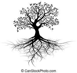 дерево, вектор, все, roots, черный