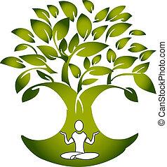 дерево, вектор, йога, фигура, логотип