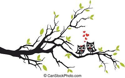 дерево, вектор, люблю, owls