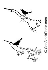 дерево, вектор, силуэт, птица, филиал